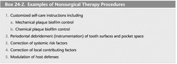 Ikke-kirurgisk definisjon av periodontal terapi